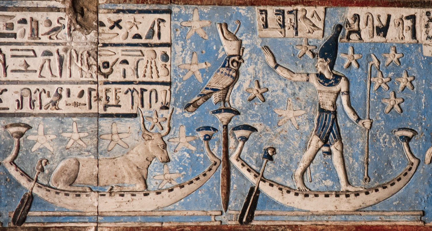 Sopdet and Sahu (Sirius and Orion) from an astronomical ceiling in Dendera (photo: Robert Cockcroft).